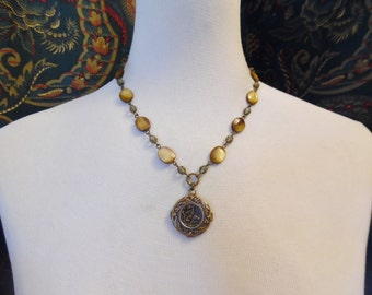 Pheasants, Antique and Mother of Pearl Button Necklace, Timeless Trinkets
