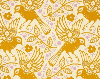Meadowlark Tangerine - Up Parasol - FreeSpirit - Heather Bailey - PWHB047.TANG - Birds Flowers