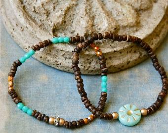 Bohemian seed bead bracelet set/stretch bracelet/skinny bracelet/boho jewelry. tiedupmemories