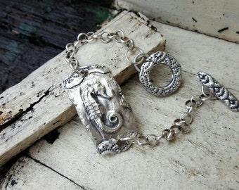 Seahorse Bracelet recycled fine silver sterling chain Animal Totem Seahorse jewelry beach bracelet ocean jewelry unique talisman