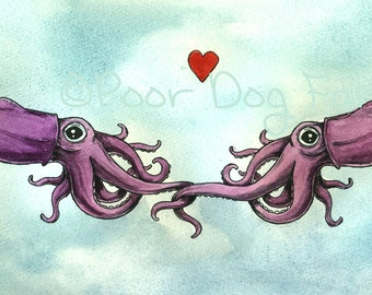 Stubby Squid Love  -Original Watercolor painted print