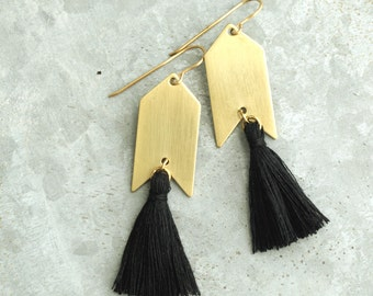 Tassel Earrings with Black Tassel, Long Earrings, Arrow Earrings, Black and Gold Earrings