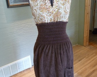 Handmade Dress, Upcycled Clothing, Recycled Clothing, Wooden Beads, Brown Dress, Sleeveless Dress, Wide Elastic Waist, Ruffle, Pocket,Pretty