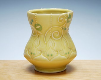 Yunomi in Buttercup yellow w. Lime green, Sky blue, & Navy polka dots, Victorian Moroccan, Handmade ceramic cup