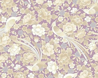 Quilt Gate Hyakka Ryoran Shiki in cream, lavender, and silver cotton fabric HR3140-15A