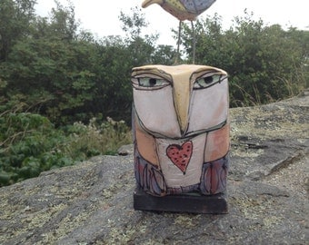 "Owl, handmade one of a kind art,""Owl Person and Dancing Bird.  Love is All, 6-3/4"" tall"