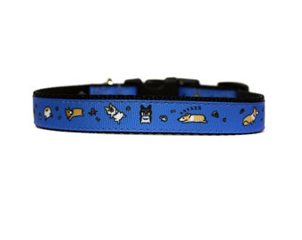 Corgi 5/8 or 3/4 Wide Dog Collar with Adjustable Buckle or Martingale in an Exclusive Design in Blue