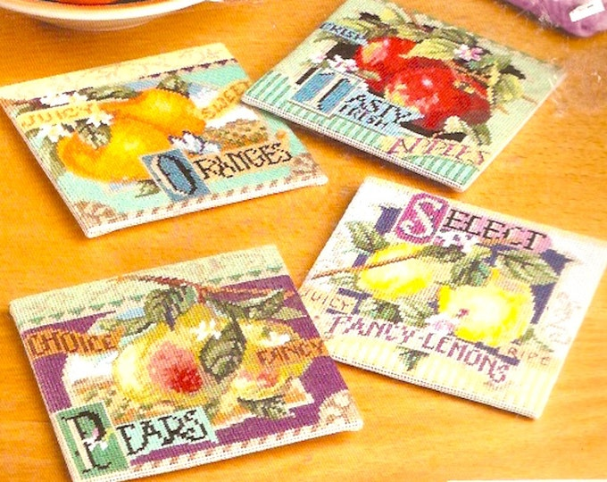 Fruit Coasters Needlepoint Janlynn 0230470 Orange Apples pears lemons Coaster Kit Unopened DIY Craft supply