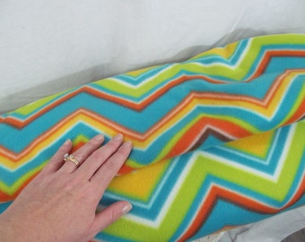Chevron Fleece Fabric BTY by the yard, craft, make blankets, gifts, scarves, ponchos, coats, rainbow, primary colors, zig zag, striped