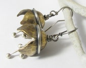 Musical Bell Flower Earrings, Silver And Bronze Bell Earrings, Musical Earrings, Artisan Mixed Metal Earrings, Unusual Metalsmith Earrings