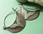 Mixed Metal Earrings, Copper Hoops, Hoop Earrings, Copper And Sterling Silver Earrings, Rustic Earrings, Rustic Jewelry, Metalsmith Earrings