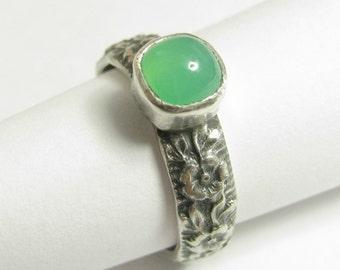 Made To Order Chrysoprase Ring, Sterling Silver Ring, Green Gemstone Ring, Metalsmith Ring, Artisan Jewelry, Artisan Ring, Green Stone Ring