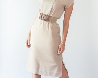 Vintage Taupe Dress (Size Small)