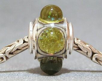 Green Glitter Dot Lampwork European Charm Bead With Sterling Envy