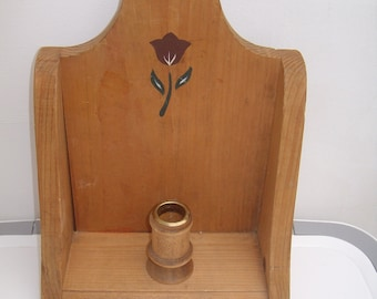 Vintage candle holder Rustic Wooden candle holder hand painted candle holder candleholder