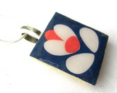 Unusual Orla Kiely inspired Retro Print Crafted Ceramic Enamelled Necklace