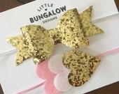 Valentines Day Headband // Felt Heart Headband // Gold Glitter Bow Headband // Pink Glitter Bow // Glitter Bow // Pink and Gold // Hair Clip