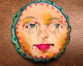 Handmade clay face  green blue scalloped edge round jewelry craft supplies cabochon faces polymer