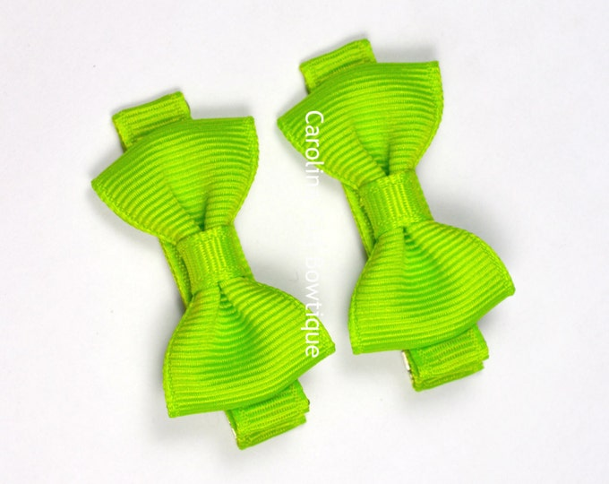 Lypple Hair Bow Set of 2 Small Hairbows - Girls Hair Bows - Clippies - Baby Hair Bows ~ No Slip Grip always added
