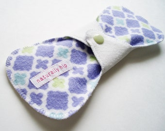 "8"" 20cm Bamboo French Terry Regular Cloth Menstrual Pad, Geometric Mauve White Blue Green, Washable Reusable Cloth Sanpro, Incontinence Pad"