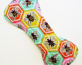 "11"" Heavy Cotton Cloth Menstrual Pad, Honeycomb Bees Hexagon, Orange Blue Green, Incontinence Pad, Flared Contoured, San Pro, Plus Size Pad"