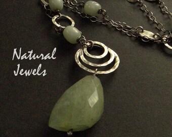 Boho handmade silver long necklace with blue gemstone Aquamarine and Amazonite