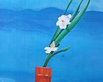 Vintage 20th C poster art Mount Fuji and Flowers - red vase and blue background - Art poster for the Met 1972