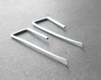 Minimalist Silver Earrings, Sterling Silver Stick Earings, Bar Earrings, Minimal Jewelry