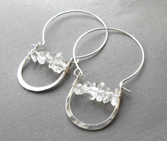 Sterling Silver Crystal Hoop Earrings, Clear Quartz Hammered Hoops, Unique Silver Earrings