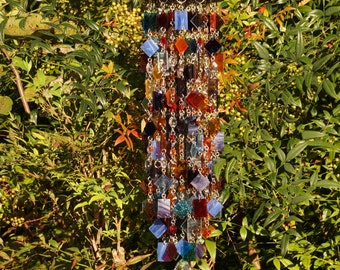 Autumn Sunset - Unique Wind Chimes - Suncatcher - OOAK Gift For Her, Anniversary, Birthday, Wedding, Housewarming Gift