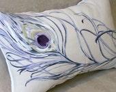 Peacock pillow, throw pillow, ticking pillow