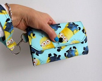 Large Cell Phone Wallet Fabric Travel Wallet Wristlet Key Fob for iPhone 6 Plus Galaxy S4 S5 - Minion Yellow Denim Blue