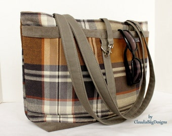 Classic Tote Shoulder Bag - Fabric Purse - Caramel Taupe Brown - Plaid - Burberry
