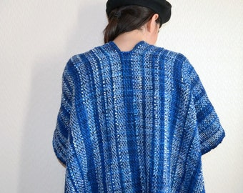 10% MOTHERSDAY code - SALE!!! Handwoven poncho - Ruana- Merino and silk shawl - Blue wrap. Was 160