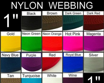 "5 Yards - 1"" - NYLON Webbing, HEAVY Weight, Strap - Your Choice of Color - thickness 1.64mm"