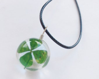 four leaf clover necklace - 4 leaf clover pendant  - glass clover necklace - ball necklace - orb necklace - flower necklace