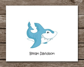 Shark Note Cards - Notecards - Fish - Ocean - Beach - Sea - Sea Creature - Personalized - Set of 8