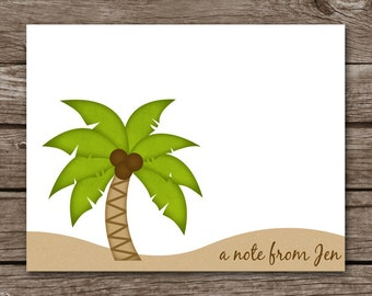 Palm Tree Note Cards - Notecards - Sand - Tropical - Beach - Summer - Personalized - Set of 8