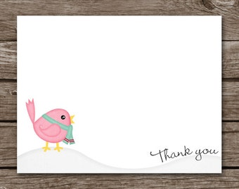 Holiday Thank You Cards - Bird Note Cards - Personalized - Custom - Set of 8