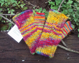 Rainbow wool hand mitts with lace back