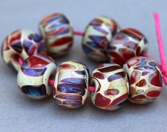 Borosilicate Beads - Purple,  Tan and Red