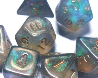 Fire Opal Black Dice - Out of Print OOP Translucent Polyhedral Set of 7