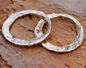 Two Rustic Round Artisan Links in Sterling Silver, AD-446