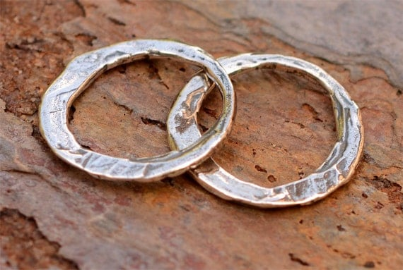 Two Rustic Round Artisan Links in Sterling Silver, L-446
