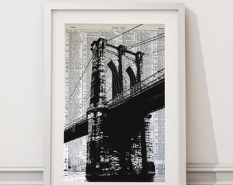 NYC Poster Print - New York City Art - NYC Photography - Brooklyn Bridge Print - New York City Bridge Print - NYC Architecture Art