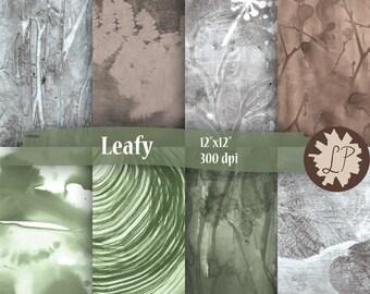Leaf Print Digital Paper, printed leaves  for garden journals or scrapbooks, planner decoration, art journaling - 12X12 backgrounds
