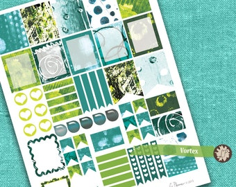 Abstract Watercolour Planner Stickers, Green Blue Printable Planner Stickers, for Erin Condren etc, half box full box water drops, flags etc
