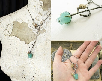 Final Sale Wicked Garden // Solid Sterling Aqua Blue Glass Rose bypass Lariat Necklace, welded, silversmith by BellaLili