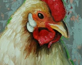 Rooster 773 12x16 inch animal portrait original oil painting by Roz