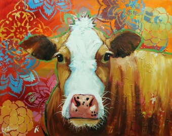 Cow painting 1128 24x30 inch animal original oil painting by Roz